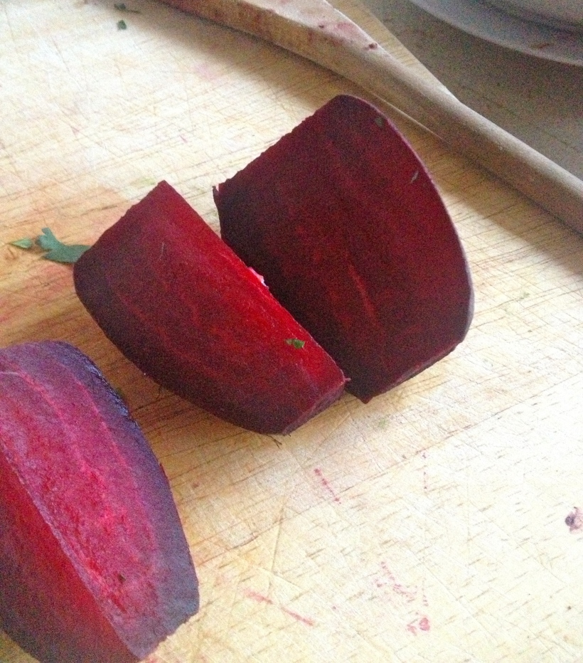 Whole beetroots straight from the oven.