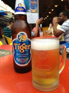 Sitting drinking a Tiger beer when Santiago came along!